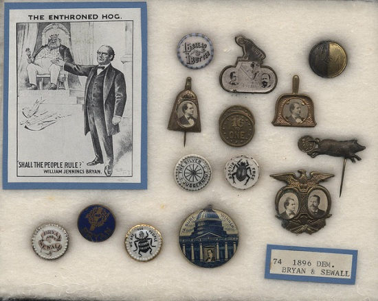 Buttons advertising the 1896 Democratic ticket