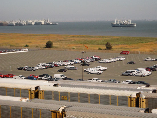 A vista filled with ships, cars, & trains near San Francisco (author photo)