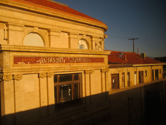 decaying Grand Junction railway station, photographed in fading light (author photo)