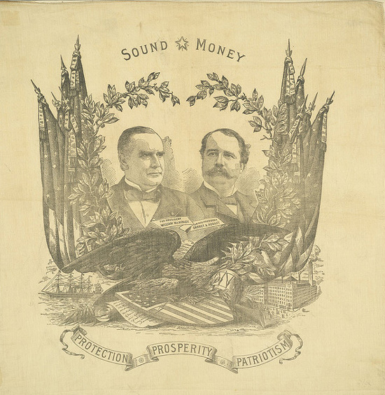 Political textile advertising the Republican ticket of McKinley & Hobart (1896)