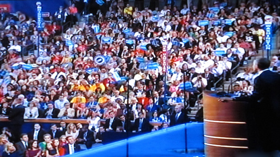 President Obama delivering his acceptance speech before the Democratic National Convention, Sept 6, 2012 (Screen shot courtesy of WTTW Channel 11 Chicago)