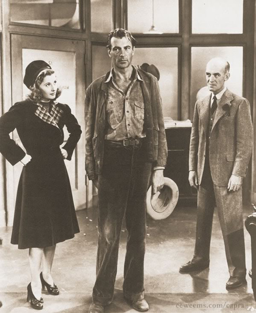 Production still of Barbara Stanwyck, Gary Cooper, and James Gleason