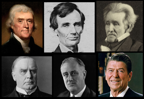 Presidents Jefferson, Lincoln, Jackson, McKinley, FDR, & Reagan