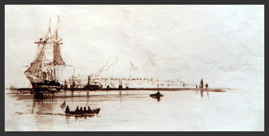 sketch by Charles Dix of Fort Monroe in the offing, 1863 (private collection)
