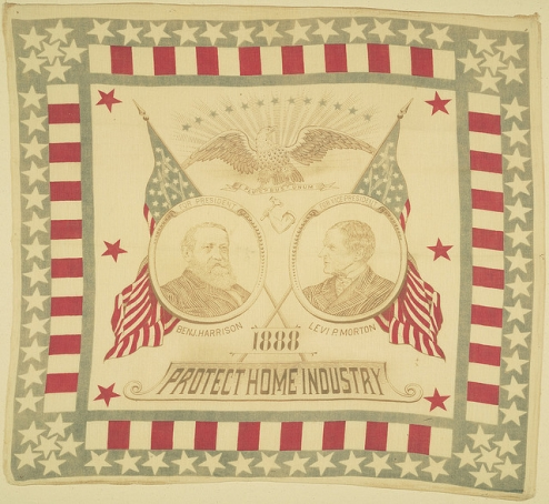 Political handkerchief from the 1888 Republican presidential campaign