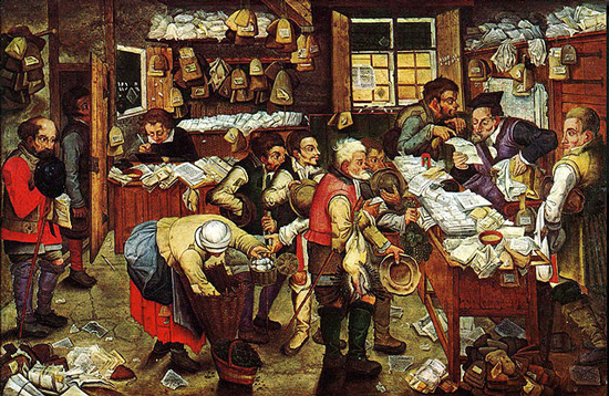 Oil painting by Pieter Brueghel the Younger (1620-40) entitled Paying the Tax