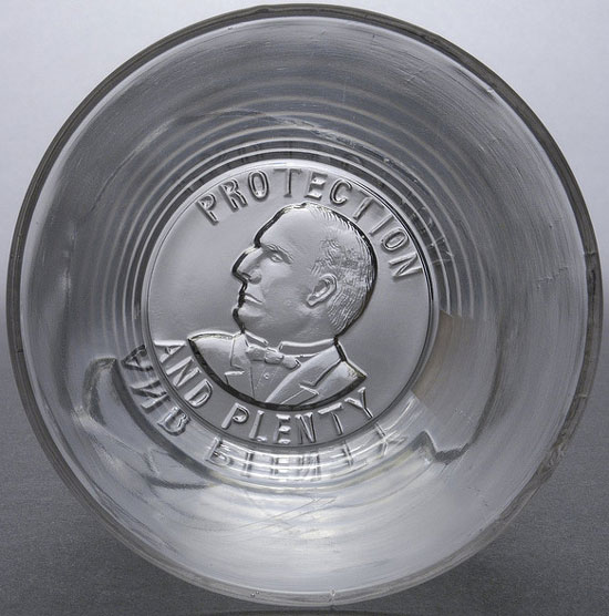 "Drinking glass with McKinley's image and the motto ""Protection and Plenty"" (courtesy Cornell University Library via Flickr Commons)"