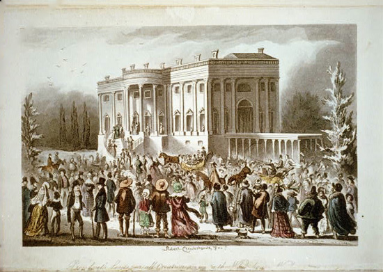 Robert Cruikshank watercolor of crowds attending Andrew Jackson's inaugural reception in 1829 (Courtesy of the Library of Congress).