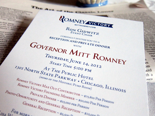Photograph of an invitation to a Romney fund-raising event (Credit: Susan Barsy)