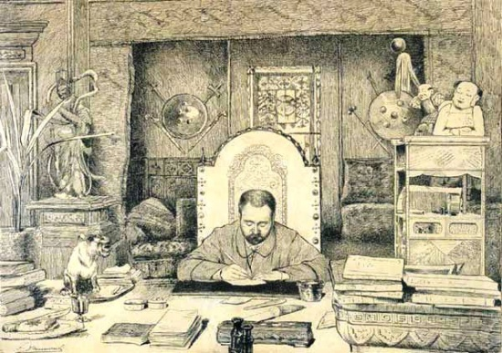 Drawing of Emile Zola at his desk (Courtesy Wikimedia Commons)