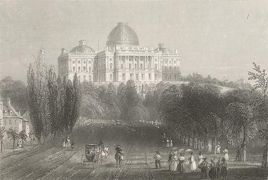 The US Capitol in the 1830s (Courtesy Cornell University Library via The Commons on Flickr)