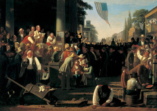 "George Caleb Bingham, ""The Verdict of the People,"" St Louis Art Museum, courtesy of Wikimedia Commons."