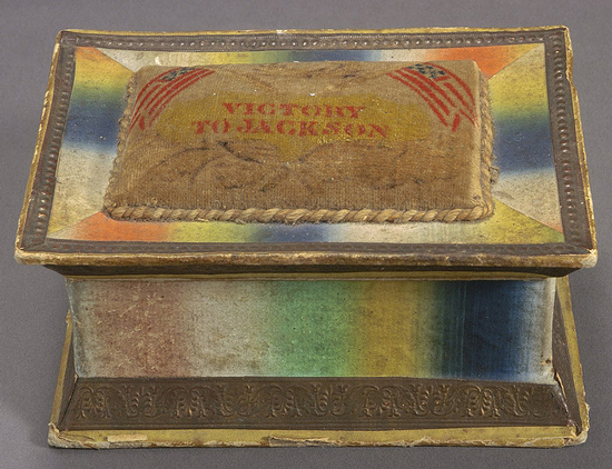 "1832 sewing box adorned with the motto ""Victory to Jackson"" (Courtesy Cornell University Library via Flickr Commons)"