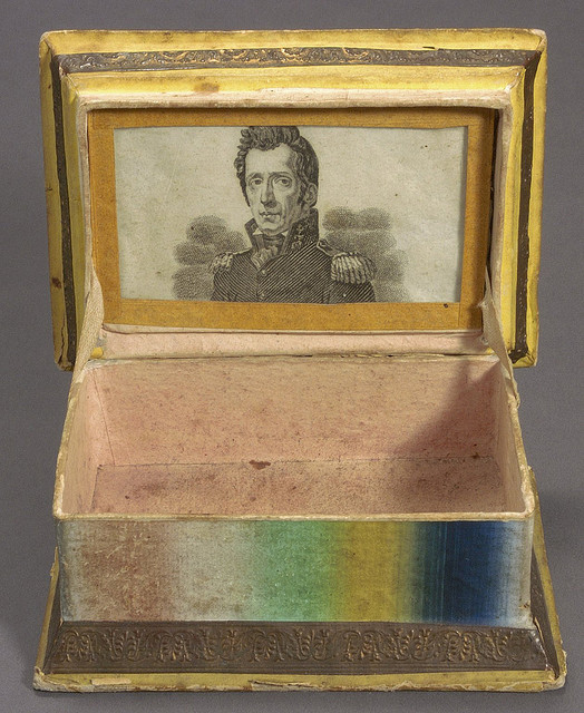 "1832 sewing box decorated on the outside with the motto ""Victory to Jackson"" and with a picture of General Andrew Jackson inside (Courtesy Cornell University Library via Flickr Commons)"