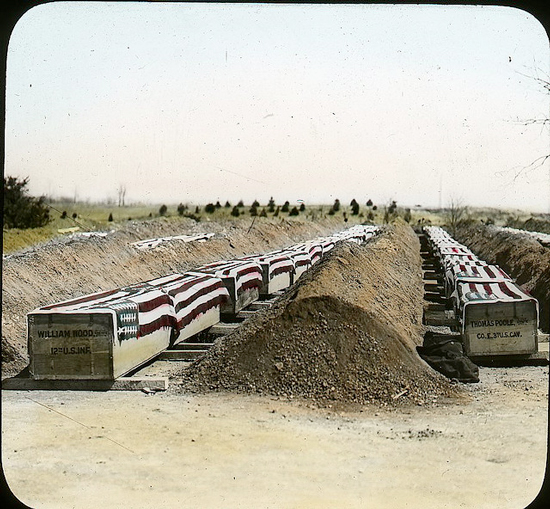 The remains of American soldiers awaiting internment at Arlington National Cemetery (Photograph by E.B. Thompson, courtesy DC Public Library via Flickr Commons)