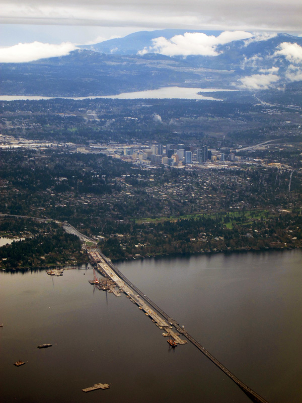 Aerial view of Bellevue and the 520 bridge over Lake Washington.