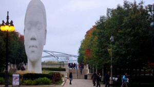 The 37-foot-tall head stands at the entrance to Millennium Park.