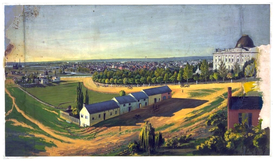 Color print of a bucolic-looking Washington DC