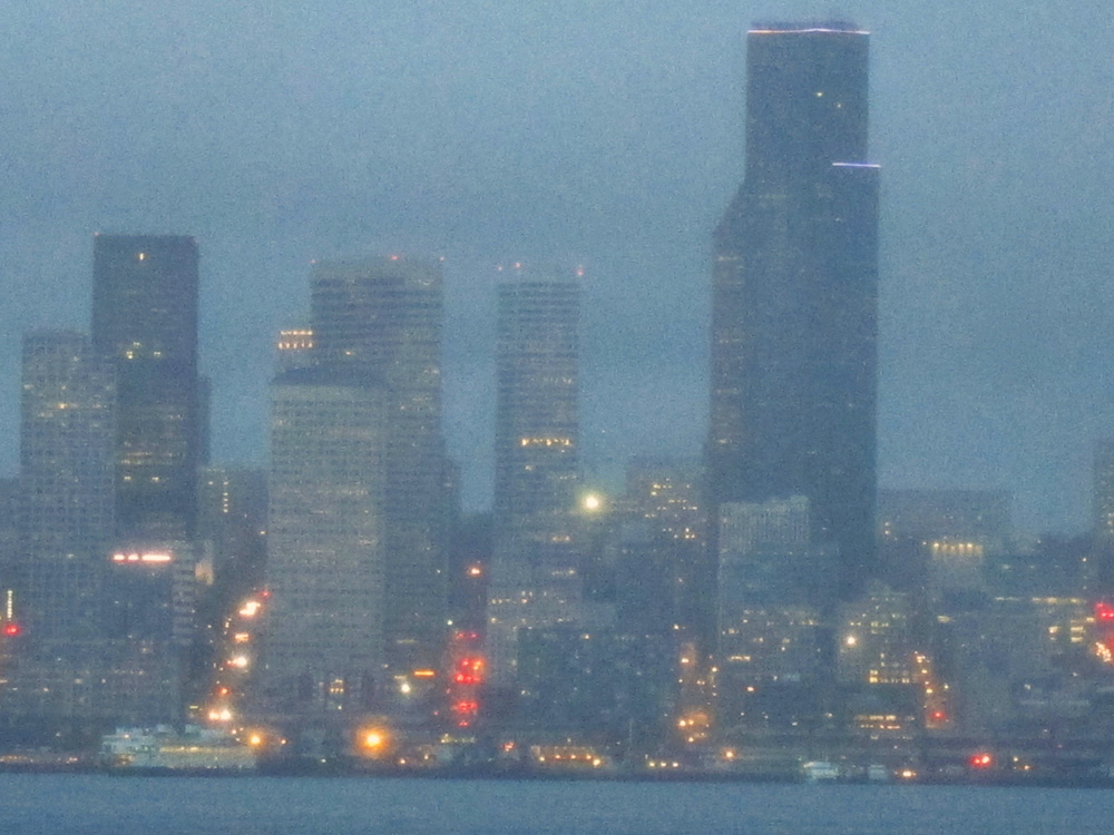 Downtown Seattle at dusk, © 2015 Susan Barsy