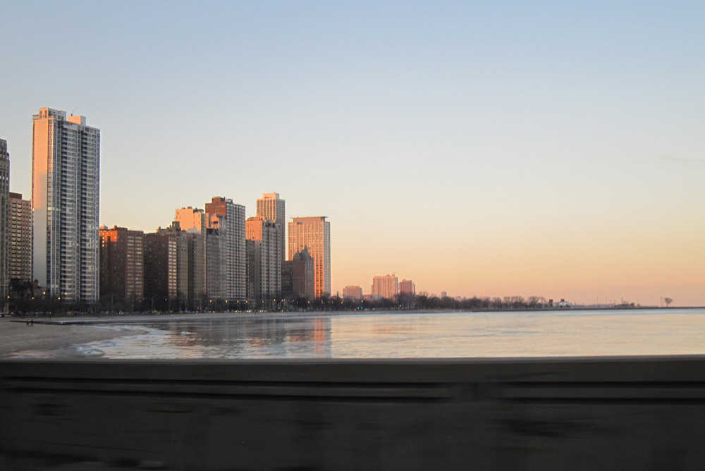 Chicago's Gold Coast seen from the Drive at twilight on December 31.
