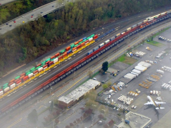Aerial view of planes, trains, and automobiles near Boeing Field