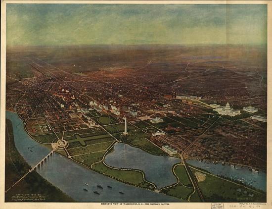 "H. H. Green, ""Bird's Eye View of Washington, DC,"" 1916 (Courtesy of the Library of Congress)"