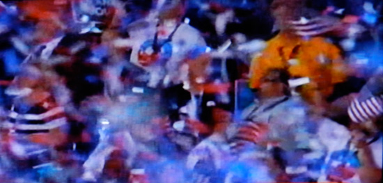 Blur of action at the DNC (screen shot from PBS coverage)