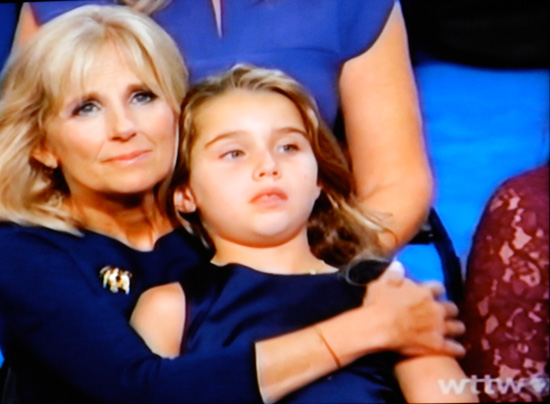 Jill Biden at the DNC (screen shot from PBS coverage)