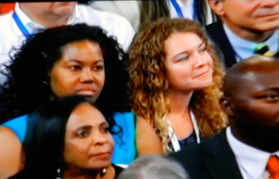 DNC listeners (Screen shot from PBS coverage)