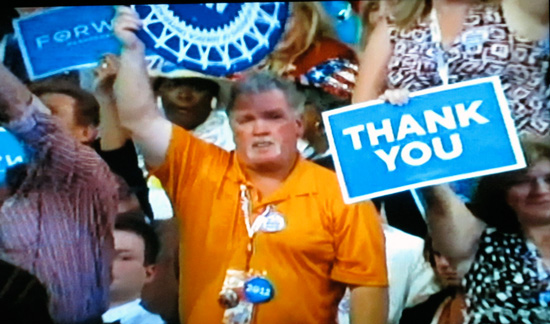 DNC audience (screen grab from PBS coverage)