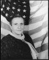 Carl Van Vechten, GertrudeStein with American flag backdrop, 1935 (Courtesy of Library of Congress)
