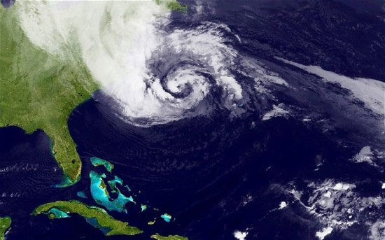 An October 29 image of Hurricane Sandy (NASA satellite image via Reuters)