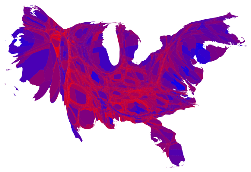 Voting strength of Democrats and Republicans by county, with purple showing county-level mix