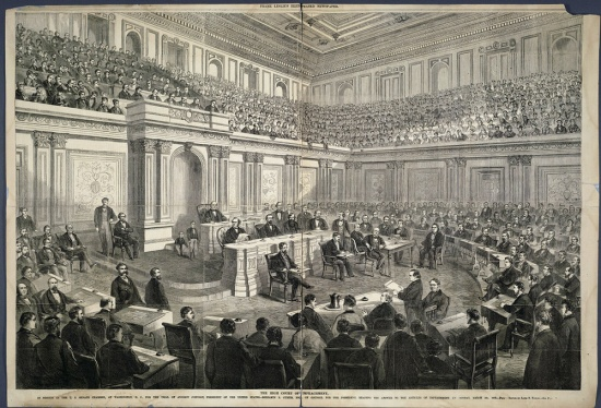 The US senate chamber in 1868 (Courtesy of Cornell University Library via the Commons on Flickr)