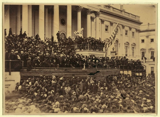 Alexander Gardner photograph of Lincoln delivering his second inaugural address as President of the United States (Courtesy of the Library of Congress)