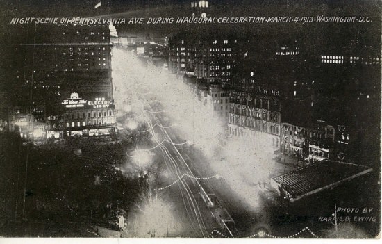 Pennsylvania Avenue strung with lights for Wilson's inauguration (Courtesy Library of Congress)