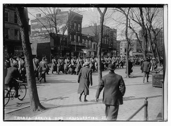 Troops marching into Washington for Wilson's inauguration (Courtesy Library of Congress)