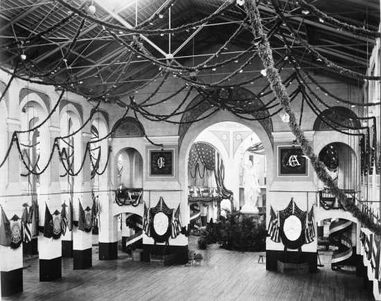 The National Museum decorated for the 1881 inaugural ball (Courtesy of the Smithsonian via the Commons on Flickr)