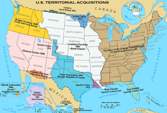 Map of US Territorial Acquisitions (Credit: National Atlas of the United States via Wikimedia Commons)