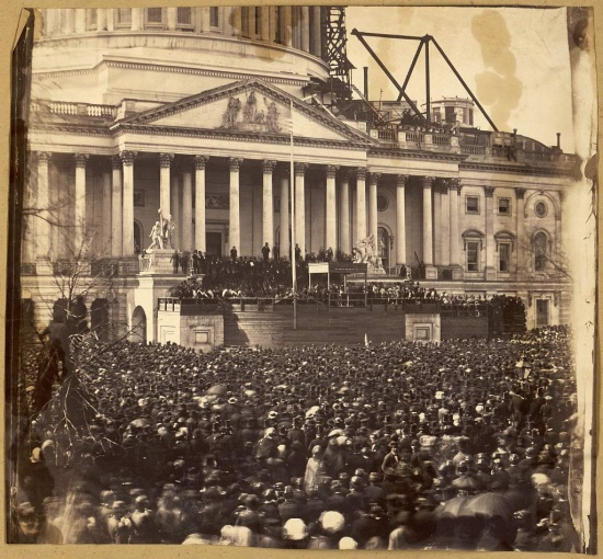 A closer view of Abraham Lincoln's Inauguration in 1861 (Courtesy of the Library of Congress) of Abraham Lincoln in 1865