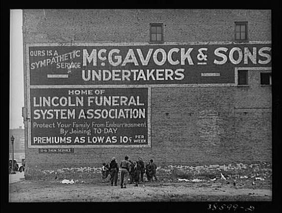 Advertisement for funeral services.
