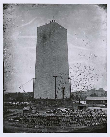 The Washington Monument under Construction, ca. 1876, courtesy of the US National Archives via the Commons on Flickr.