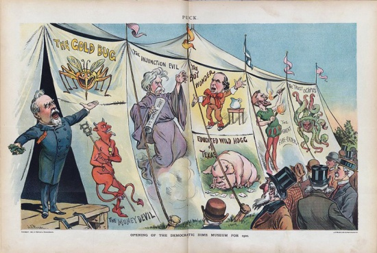 "Political cartoon from Puck, showing various political types, including the ""fire-eater"" (Courtesy Library of Congress)"