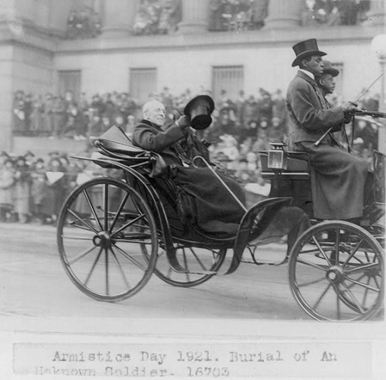 President Wilson en route to the burial of the Unknown Soldier (Courtesy Library of Congress)