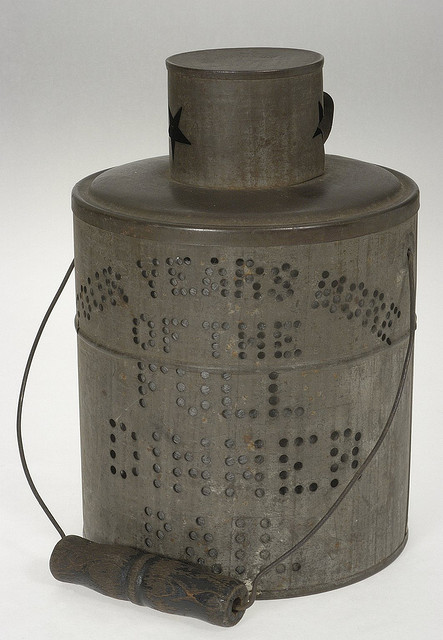 "Candle lantern from the McKinley-Roosevelt campaign, stamped with the slogan ""Four Years More of the Full Dinner Pail.""  Susan H Douglas Collection of Political Americana, Cornell University Library."