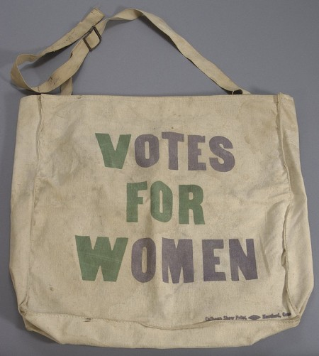 A canvas bag, circa 1920, the year American women won the right to vote.  Susan H Douglas Collection of Political Americana, Cornell University Library.
