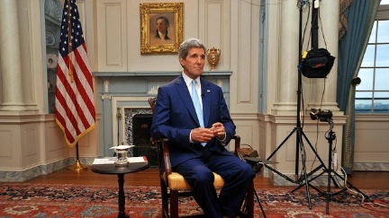 Kerry between interviews at the State Department (Monroe Room)