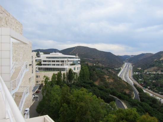 The buildings of the Getty campus rise above Interstate 405.