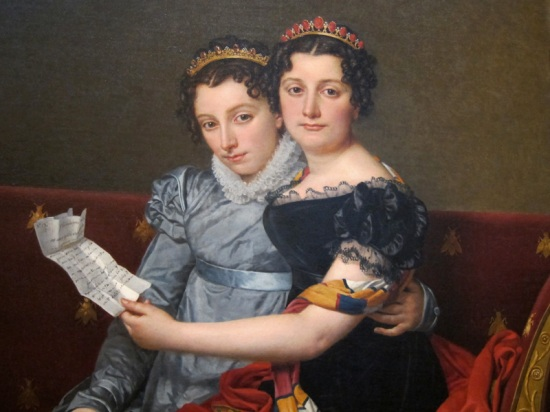 """Detail of Jacques-Louis David's """"The Sisters Zénaïde and Charlotte Bonaparte,"""" at The Getty Center Los Angeles."""