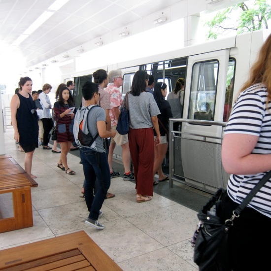 Passengers board the Getty Center tram.